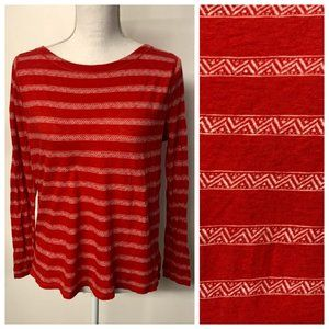 LRL Jeans Red White Southwestern Boat Neck Top